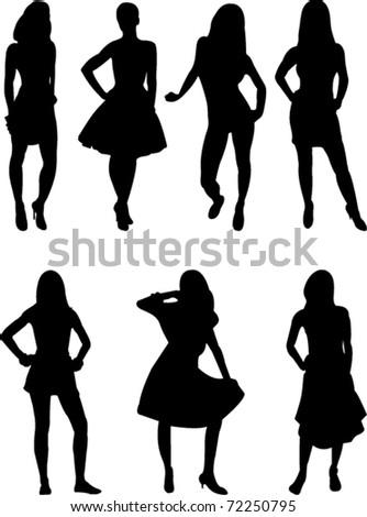 girls collection vector - stock vector