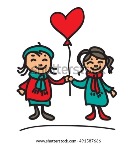 Girls couple with balloon on a white background.