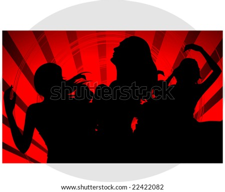 girls dancing in a red design background