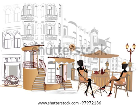 Girls drinking coffee in the street cafe - stock vector