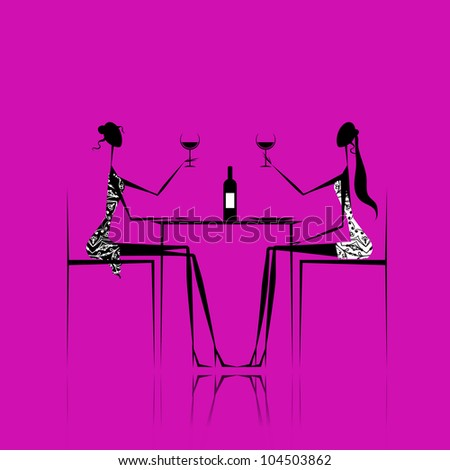 Girls drinking wine in cafe - stock vector