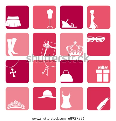 Girls Fashion Icons Set - stock vector