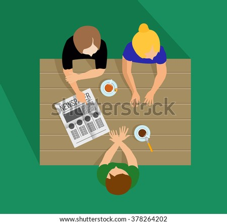 Girls gossiping. Girls communicate. Girls talk. Breakfast, lunch or dinner. Gossip. The conversations at the table. Meeting friends - stock vector