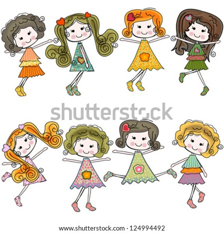girls having fun, colorful set of 8 characters