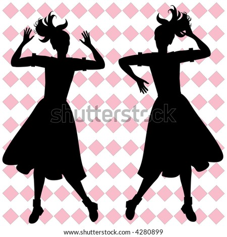 girls having fun retro silhouette vector