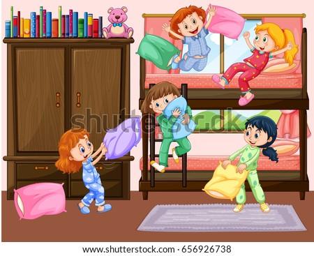 Girls Having Slumber Party In Bedroom Illustration