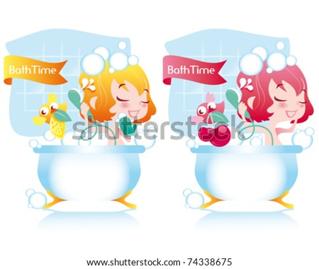 girls in bath - stock vector