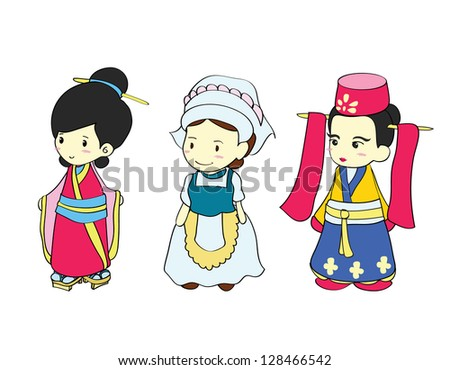 Girls in traditional costume of Asian country , Cartoon vector illustration