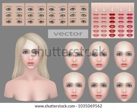 Girls Light Makeup For Light Skin Option, Face Make Up, Designer. Vector  Illustration