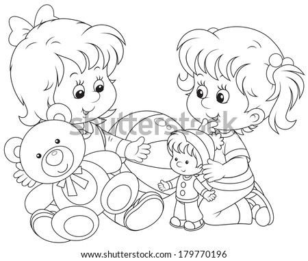 Girls playing - stock vector