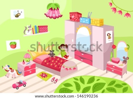 girls room - stock vector