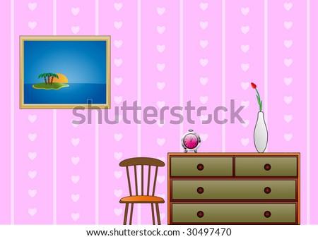 Girls room. Vector - stock vector