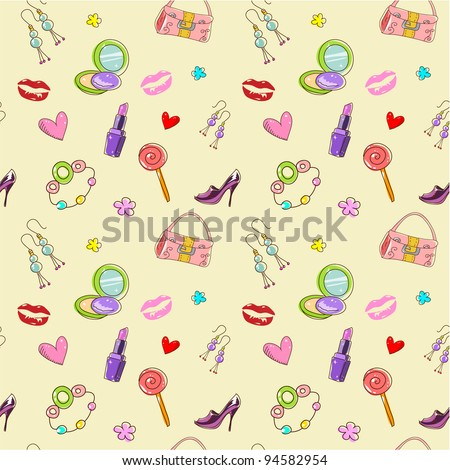 Girls seamless texture with fashion acessories, shoes, bag and lipstick - stock vector