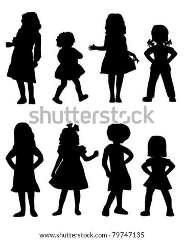 Girls silhouette - stock vector