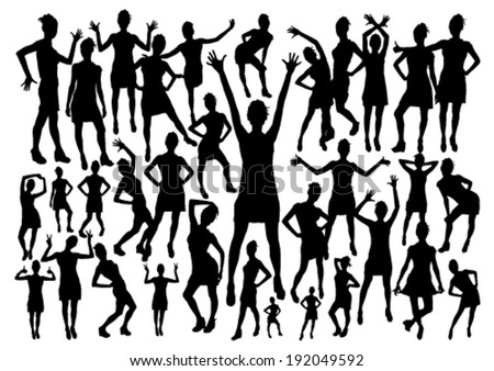 Girls Silhouettes Set - stock vector