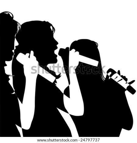 girls singing - stock vector