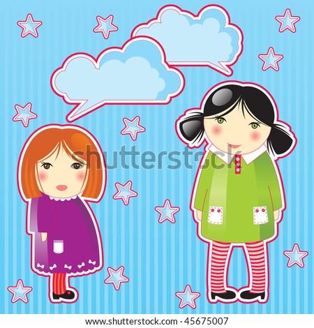 girls speaking - stock vector