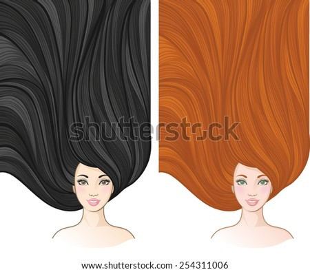 Girls with beautiful hair. Vector illustration for barber shops, beauty salons, spa salons. Horizontal banners with young European women - stock vector