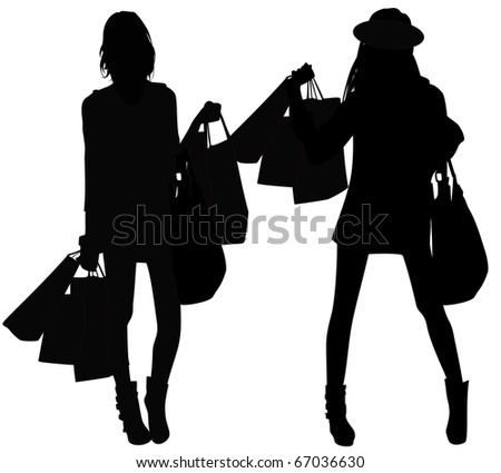 Girls with purchases - stock vector