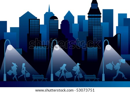 Girls with shopping bags, a dark cityscape in the background - stock vector