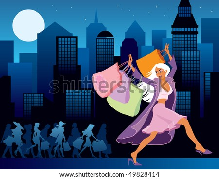 Girls with shopping bags, city at night in the background - stock vector