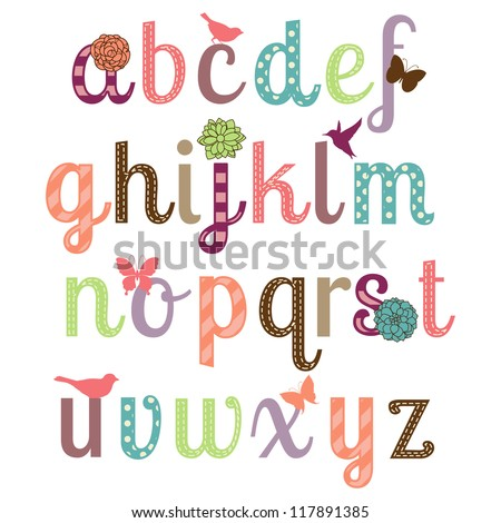 Girly Alphabet Vector Set More Letters Stock Vector 117891385