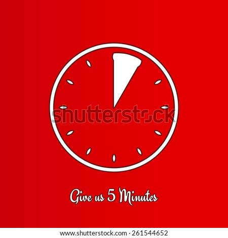 give us five minutes with clock on red background - stock vector