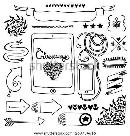 Giveaway vintage elements set with tablet smartphone. - stock vector