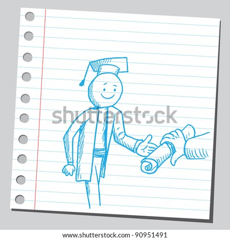 Giving diploma to graduate - stock vector