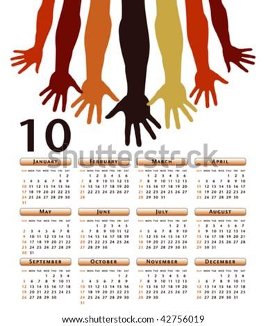 Giving hands 2010 vector calendar. - stock vector