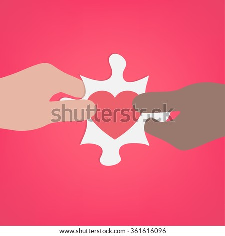 Giving Heart Puzzle Between Different Race Vector - stock vector