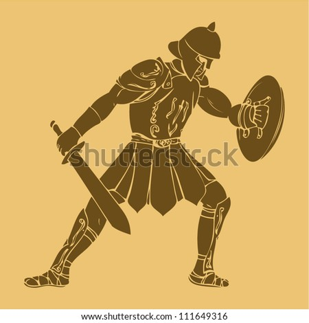 Gladiator in carved style illustration - stock vector