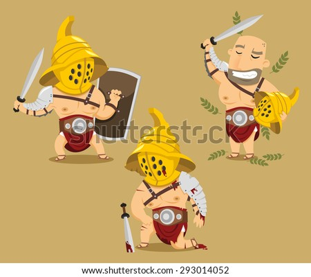Gladiator Power Glory Blood Winner Hero vector cartoon illustration - stock vector