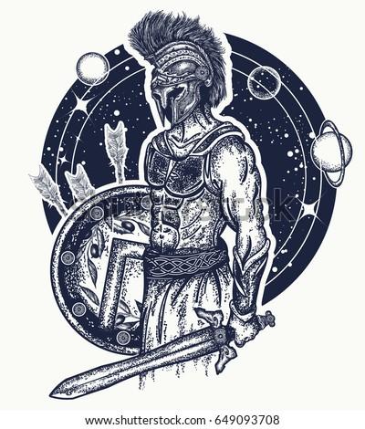 Gladiator Spartan Warrior Holding Sword Shield Stock ...