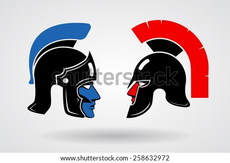Gladiators. Heads in ancient helmets, Red and blue, crest and protection. Vector illustration - stock vector
