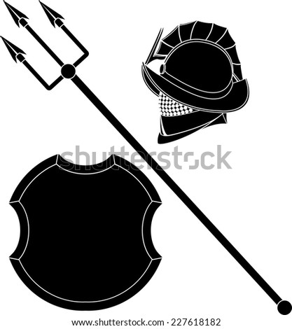 gladiators helmet and trident with shield. stencil. vector illustration - stock vector