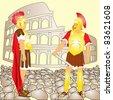 Gladiators in Rome - stock vector