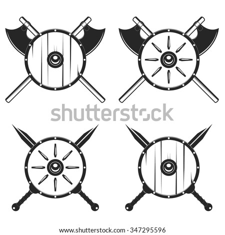 Gladitaor shield with crossed sword and axe vector illustration - stock vector