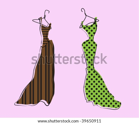 Glamor Girl's Wardrobe, Brown and Green Evening Gowns - stock vector