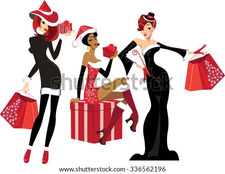 glamorous girls with christmas gifts - stock vector