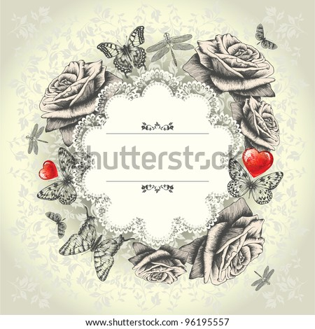 Glamorous lace frame with blooming roses, flying butterflies, red heart. Hand drawing. Vector. - stock vector