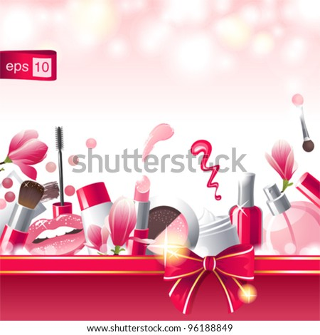 Glamorous make-up background with place for your text - stock vector