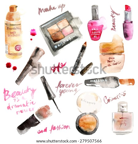 Glamorous make up watercolor cosmetics - stock vector