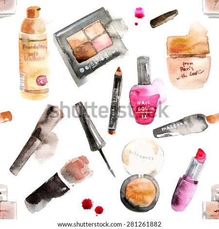 Glamorous make up watercolor cosmetics background - stock vector