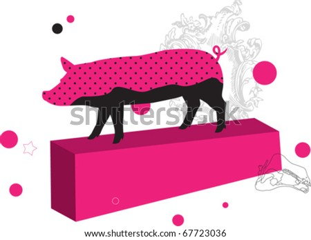 glamorous pink pig vector illustration for web and design