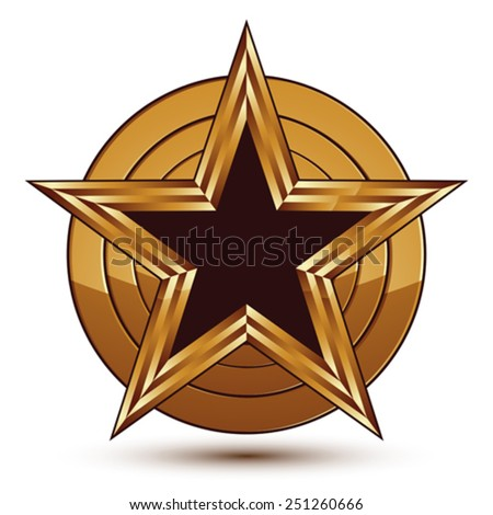Glamorous vector template with pentagonal black star symbol with golden outline placed on a rounded surface. Conceptual heraldic icon, clear eps8 vector. - stock vector