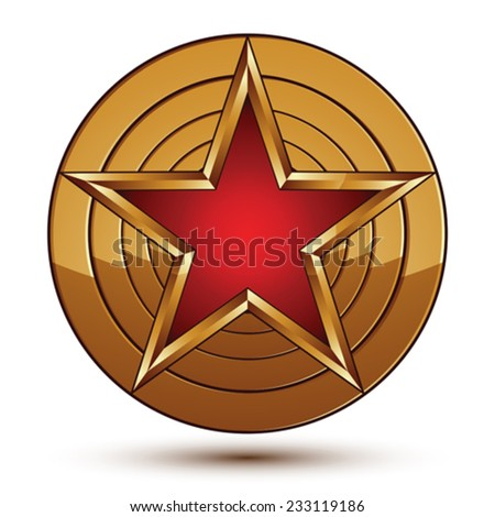 Glamorous vector template with pentagonal red star symbol with golden outline placed on a rounded surface. Conceptual heraldic icon, clear eps8 vector. - stock vector