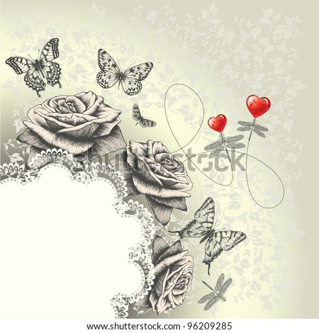 Glamour background with lacy frame, red hearts, flying butterflies, dragonflies. Hand drawing. Vector. - stock vector