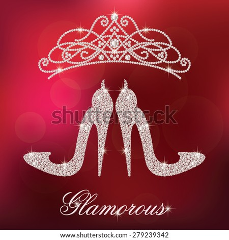 Glamour design elements. Elegant ladies high heels shoe shape, made with shiny diamonds. And crystals diadem. Isolated on the red blurred background. Vector illustration. - stock vector