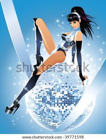 Glamour disco girl - stock vector